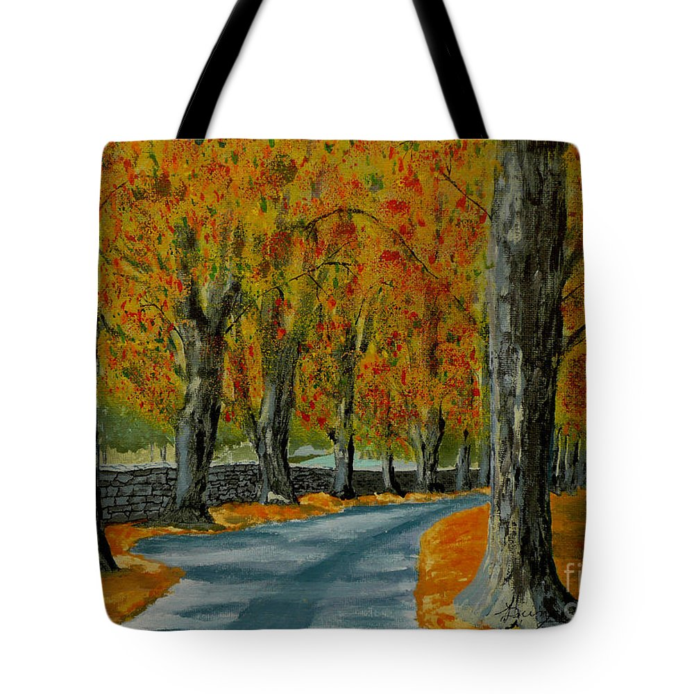 Autumn Tote Bag featuring the painting Autumn Pathway by Anthony Dunphy