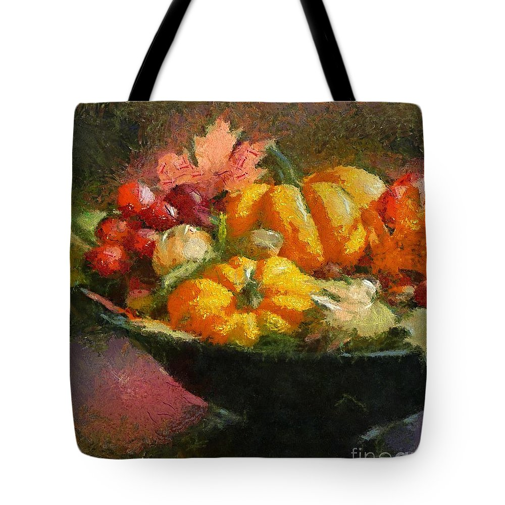 Autumn Tote Bag featuring the painting Autumn Pumpkins by Dragica Micki Fortuna