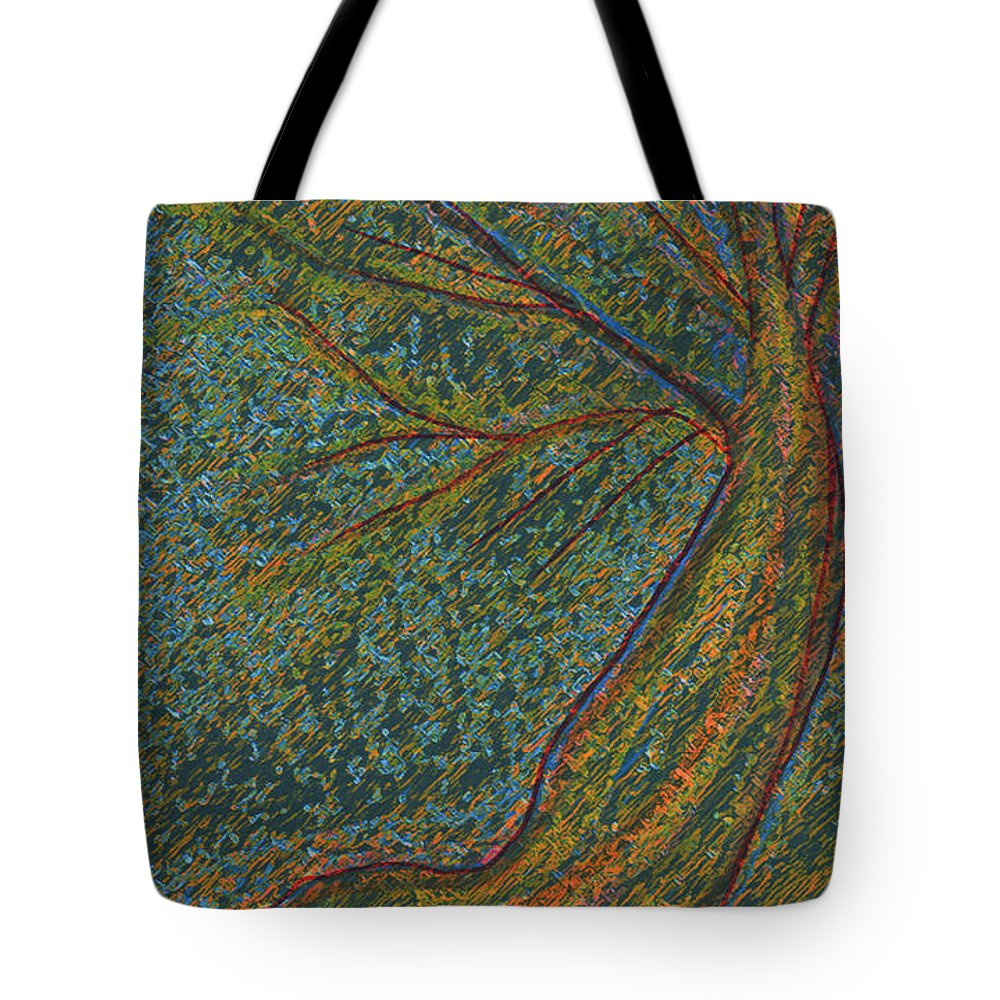 First Star Tote Bag featuring the mixed media Autumn Rain Tree by First Star Art
