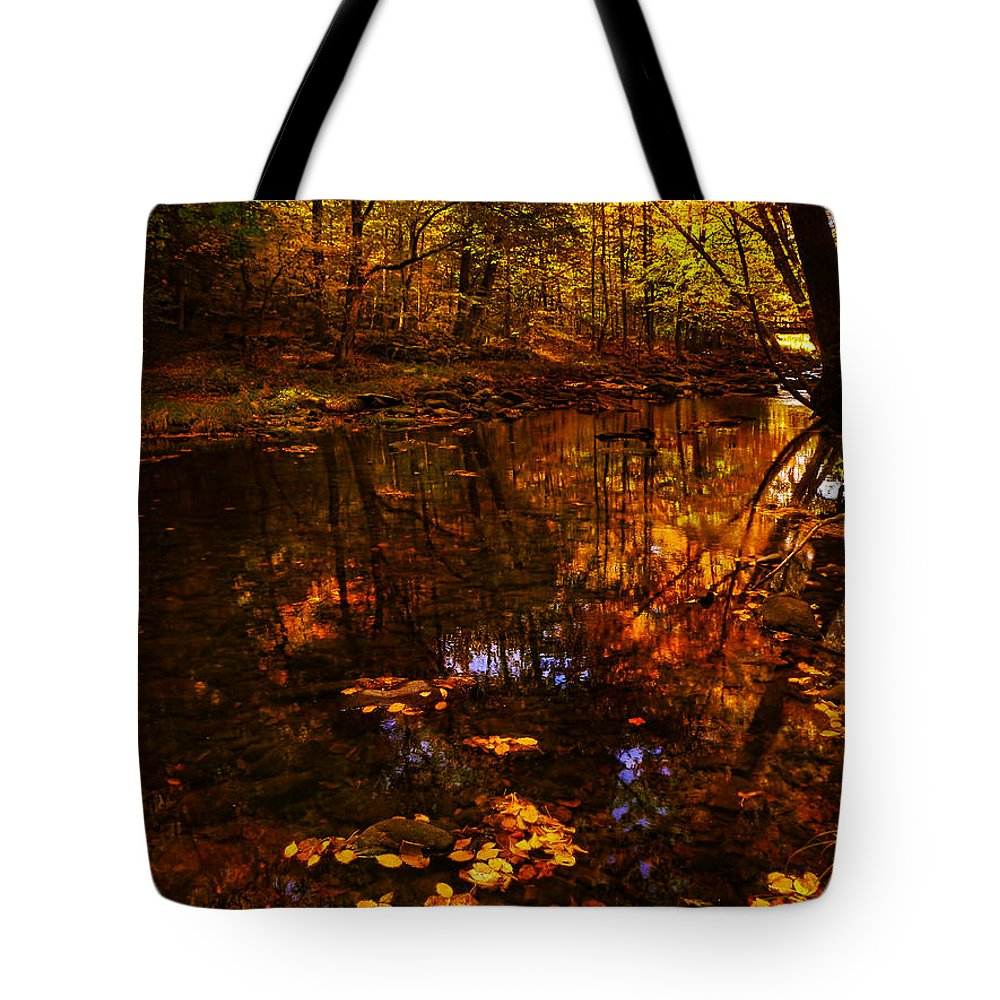 Creek Tote Bag featuring the photograph Autumn Reflection by Deena Stoddard