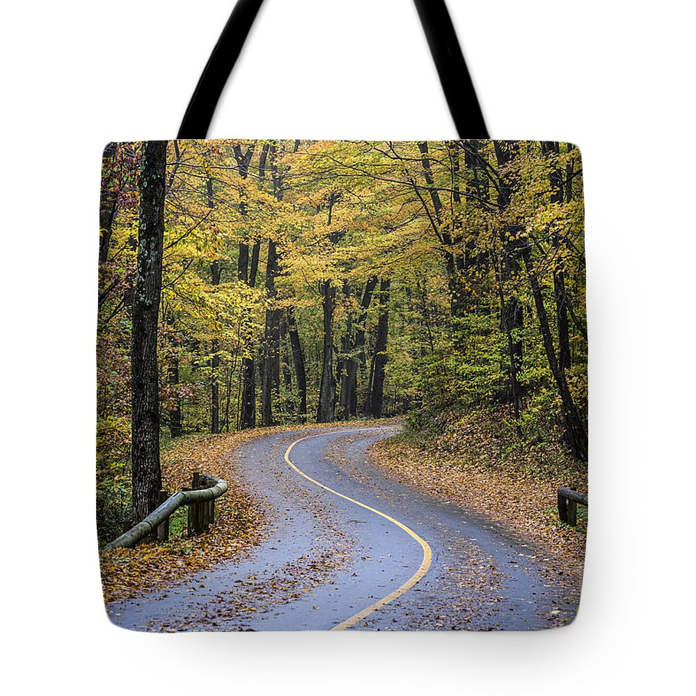 Massachusetts Tote Bag featuring the photograph Autumn Road by John Greim