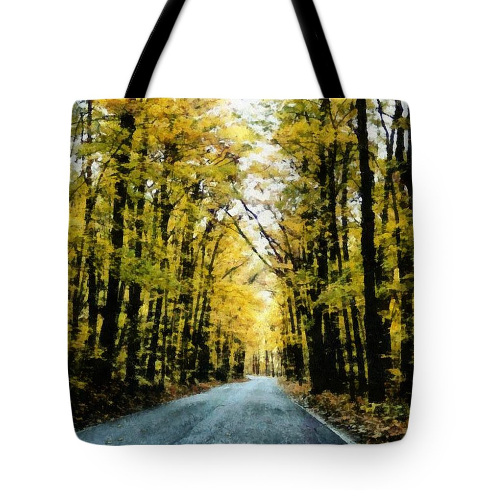 Green Tote Bag featuring the photograph Autumn Road by Michelle Calkins