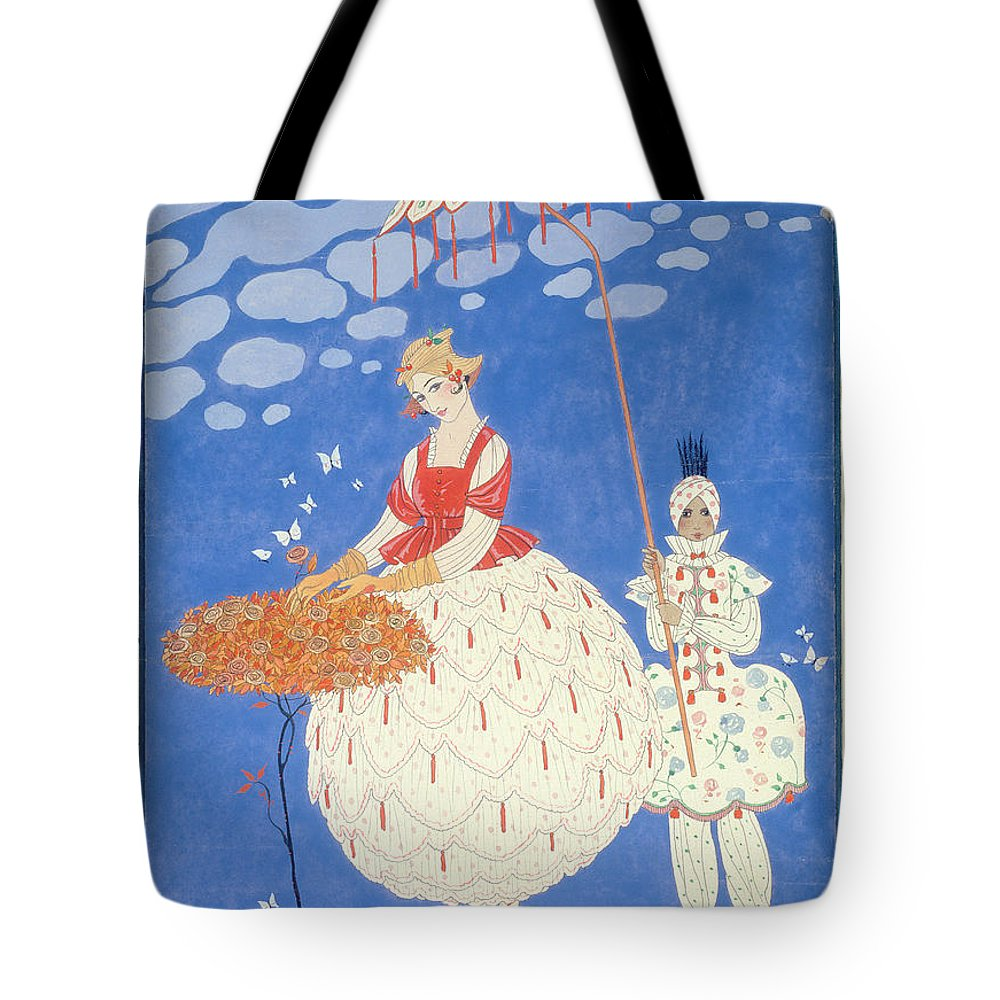 Rose Tote Bag featuring the painting Autumn Roses by Georges Barbier