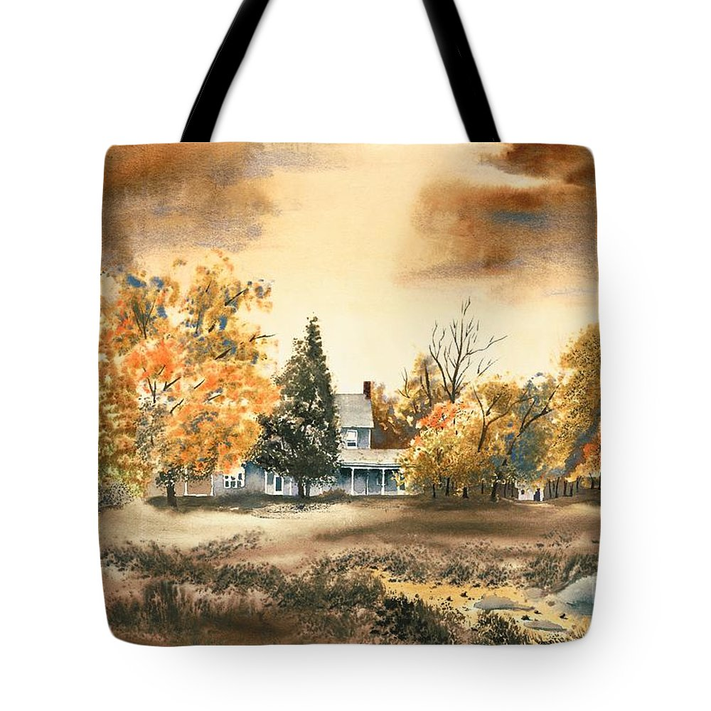 Autumn Sky No W103 Tote Bag featuring the painting Autumn Sky No W103 by Kip DeVore