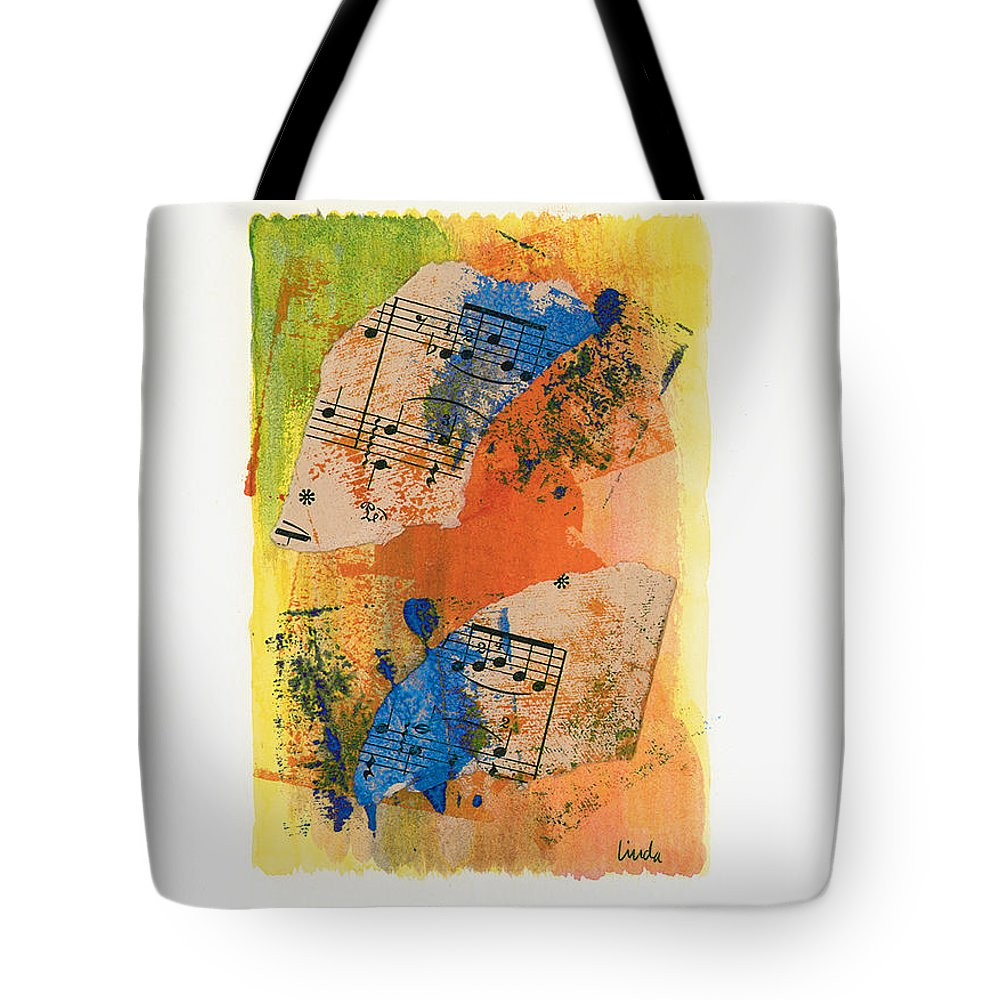 Abstract Tote Bag featuring the painting Autumn Song by Linda Wimberly