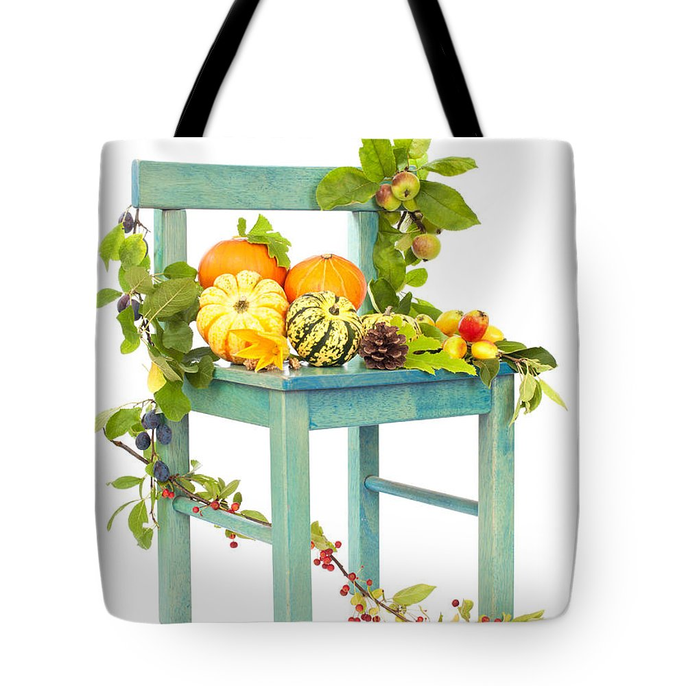 Pumpkin Tote Bag featuring the photograph Autumn Still Life Chair by Amanda Elwell