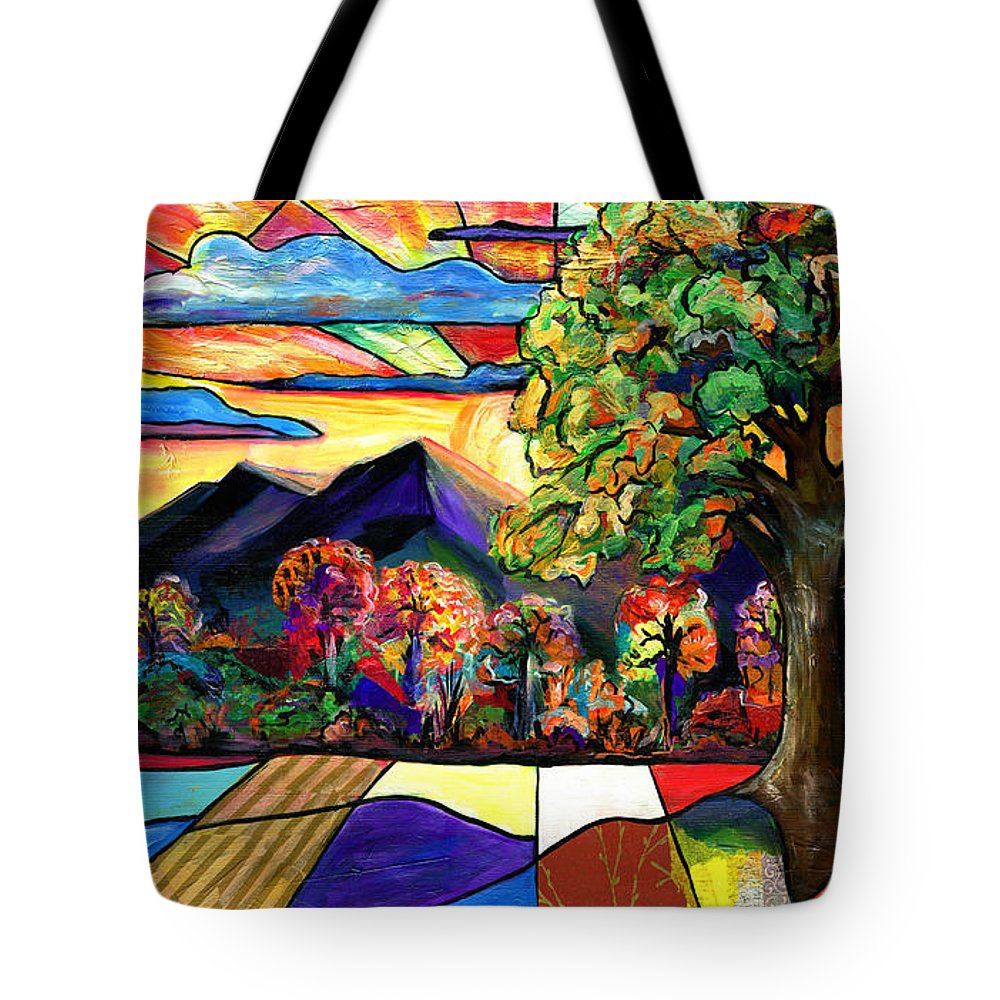 Everett Spruill Tote Bag featuring the painting Autumn Sunrise by Everett Spruill
