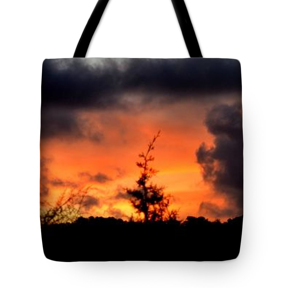 Sunrise Tote Bag featuring the photograph Autumn Sunrise From The Back Deck by Mary Deal