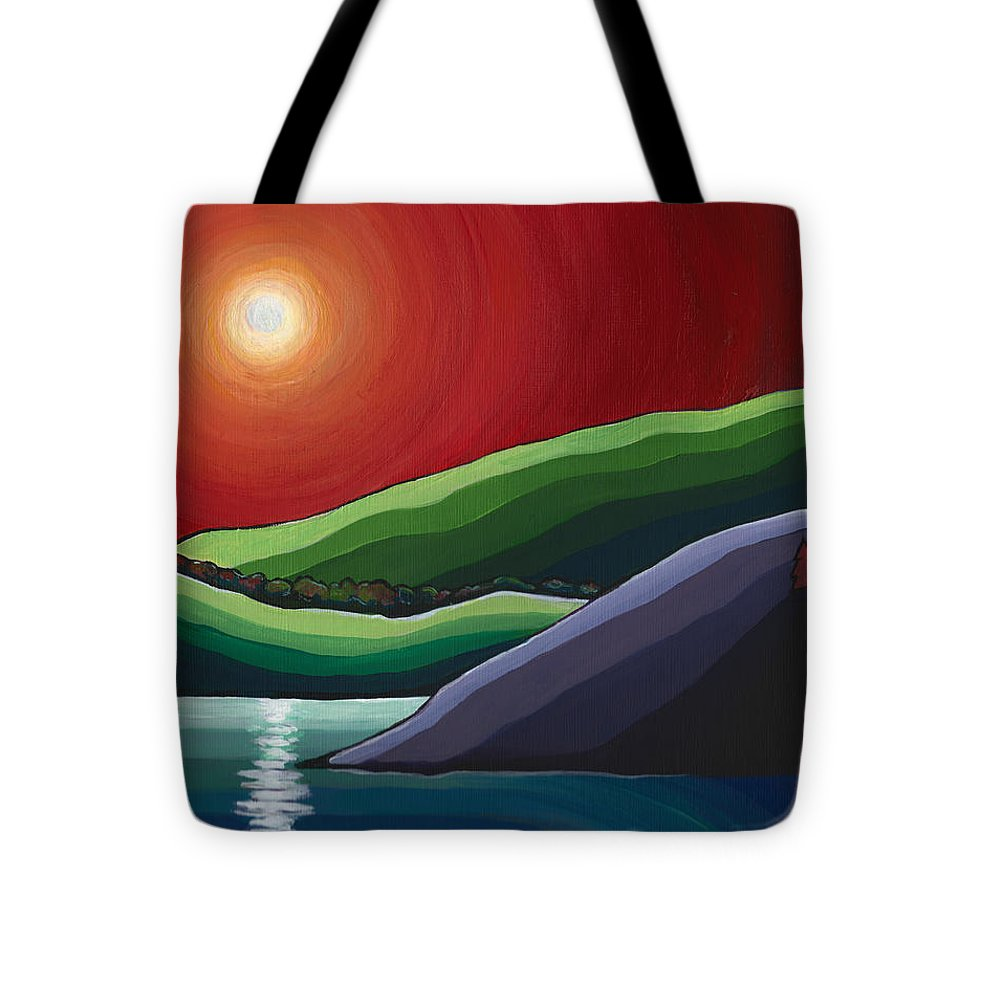 Landscape Tote Bag featuring the painting Autumn Sunset by Alison Newth