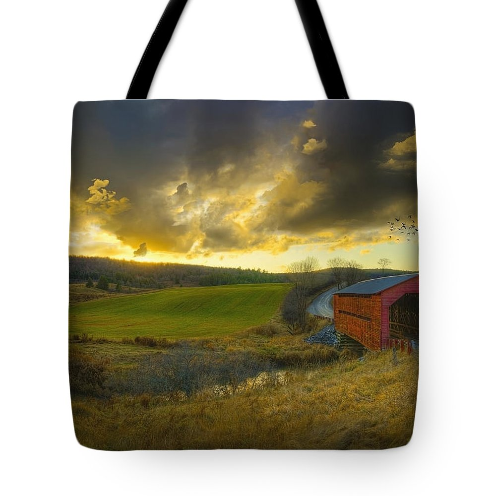 Sunset Tote Bag featuring the photograph Autumn Sunset Over Meech Creek And by Richard Desmarais