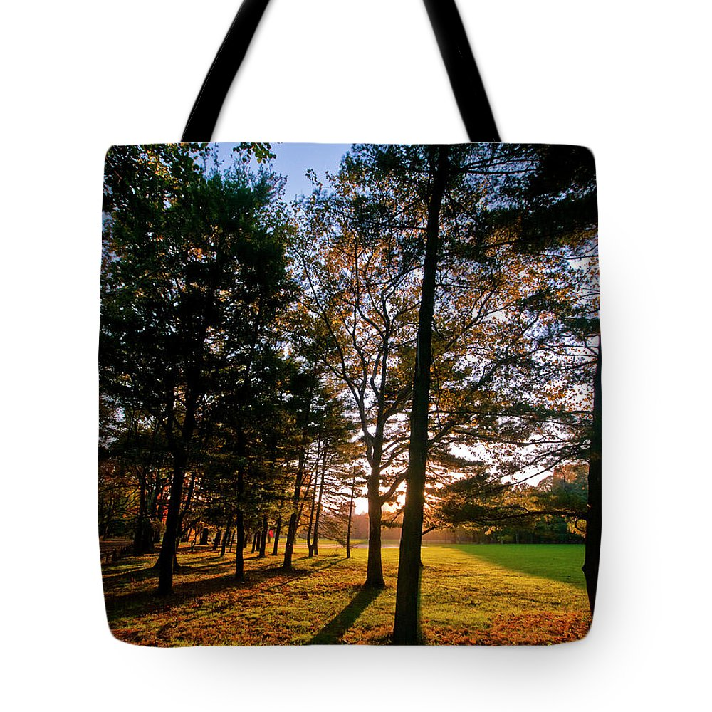 Nyc Tote Bag featuring the photograph Autumn Sunset by S Paul Sahm