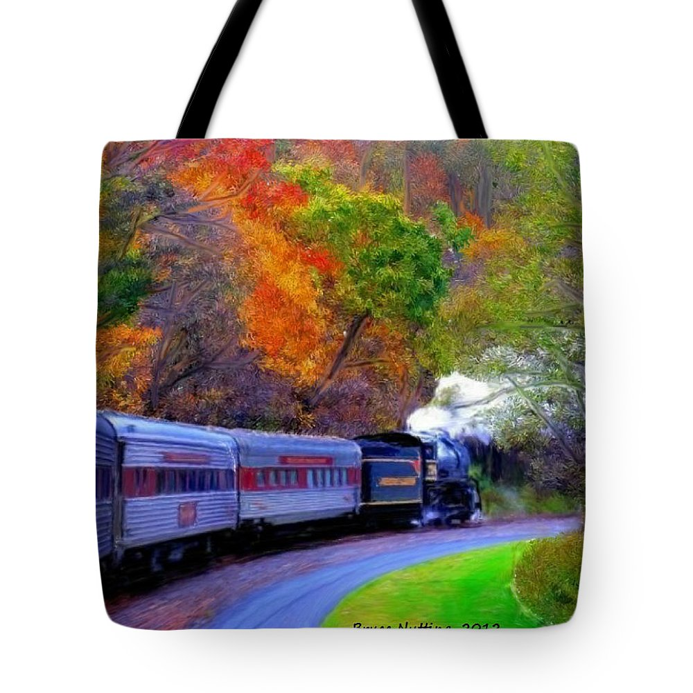 Trees Tote Bag featuring the painting Autumn Train by Bruce Nutting