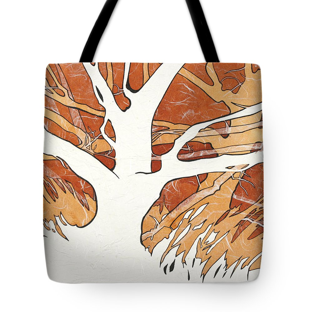 Landscape Tote Bag featuring the mixed media Autumn Trees by Joye Moon