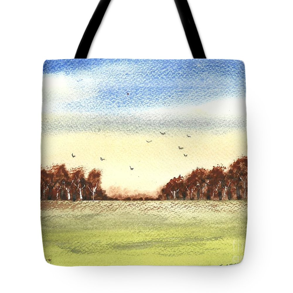 Landscape Tote Bag featuring the painting Autumn Wind by Tracey Williams