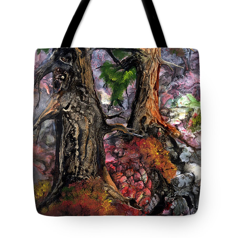 Trees Tote Bag featuring the painting Autumn Woods by Sherry Shipley