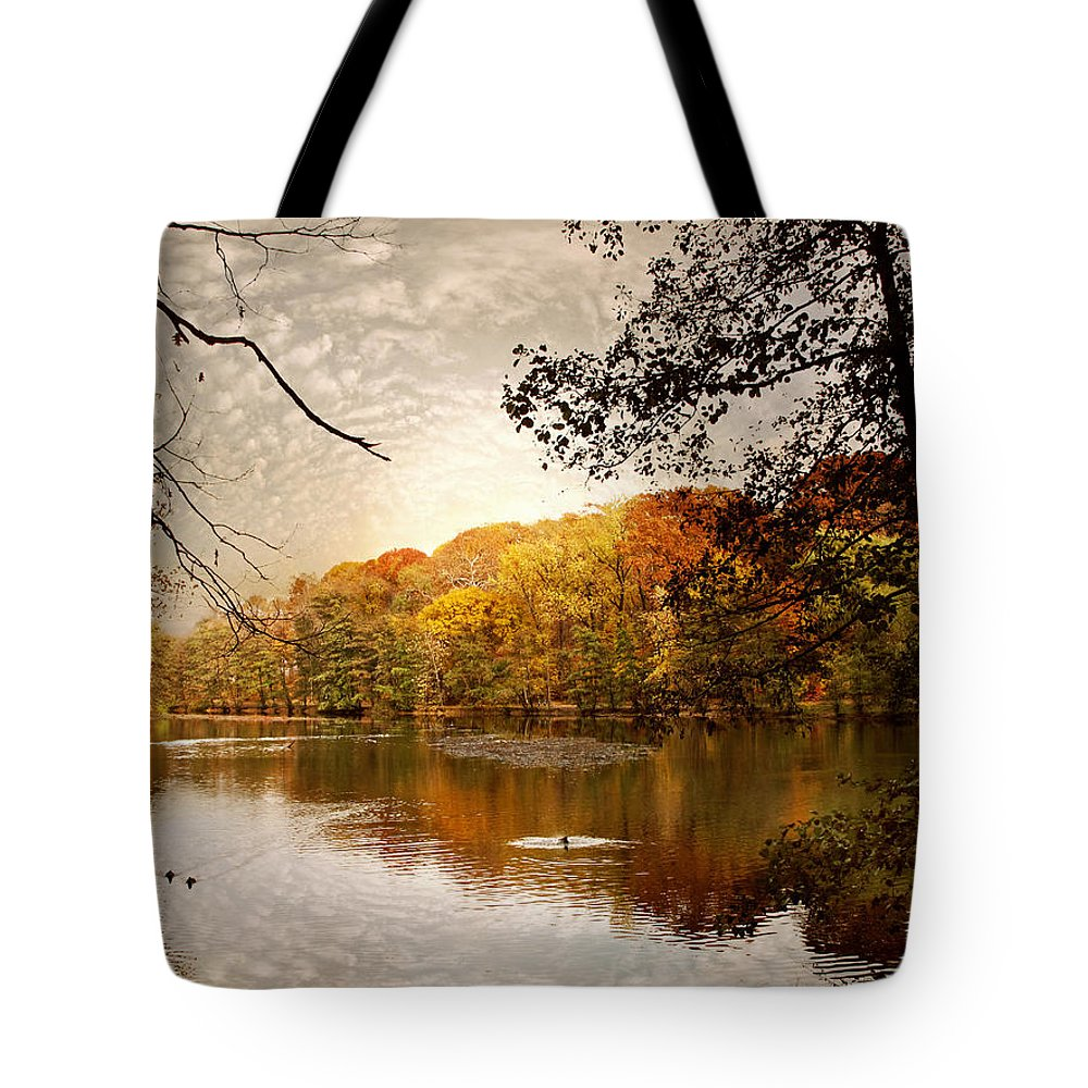 Landscape Tote Bag featuring the photograph Autumn's Adieu by Jessica Jenney