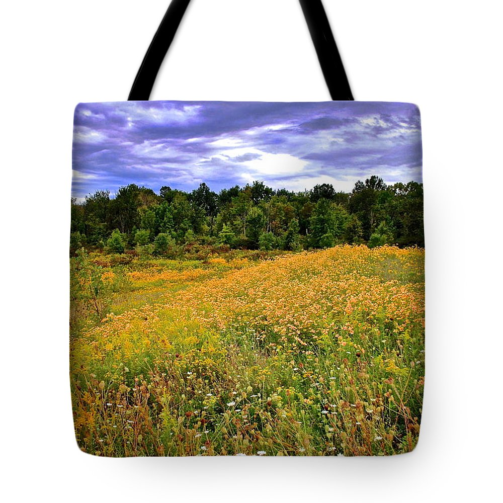 Hdr Tote Bag featuring the photograph Autumns Brilliance Hdr by Frozen in Time Fine Art Photography