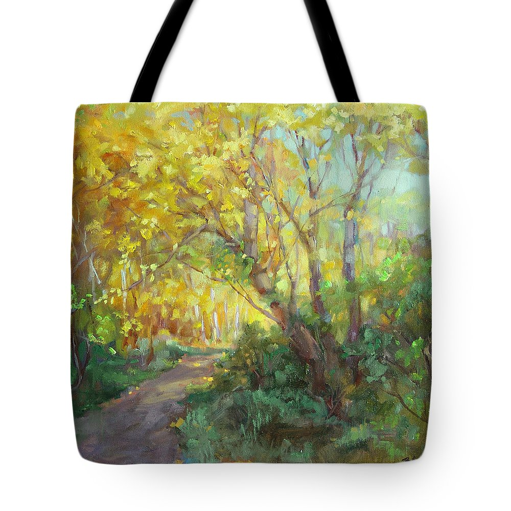 Landscape Tote Bag featuring the painting Autumn's Glow by Barbara Schilling