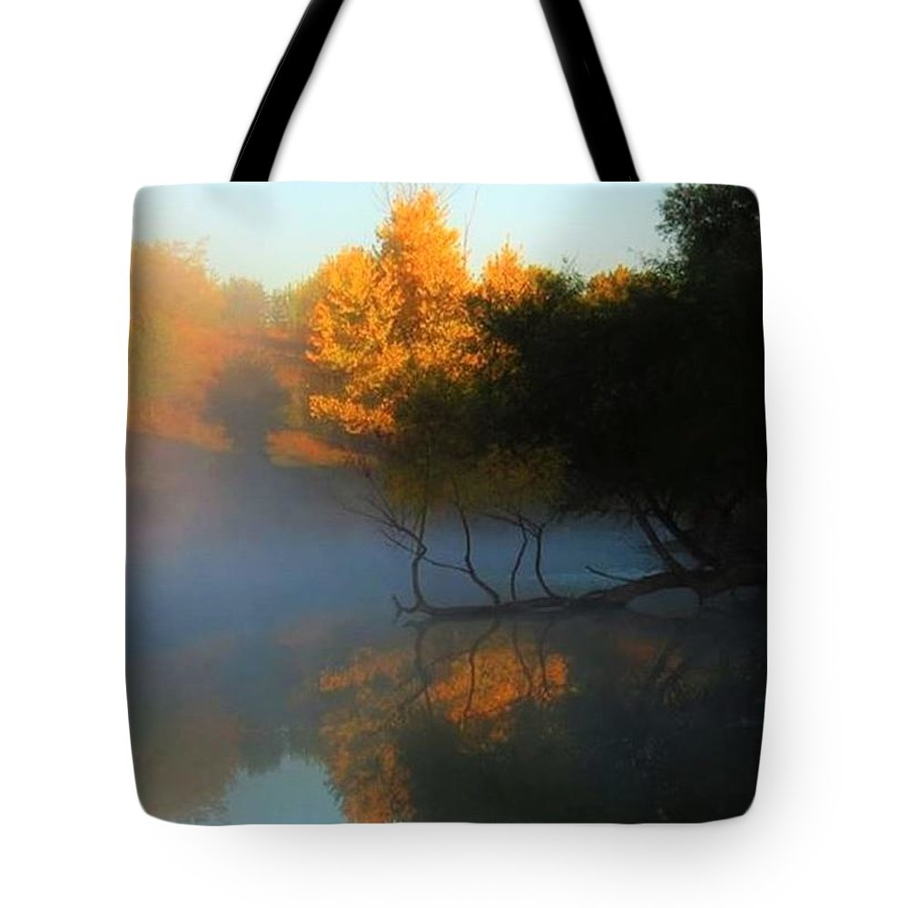 Autumn Tote Bag featuring the photograph Autumn's Mist by Renee Michelle Wenker