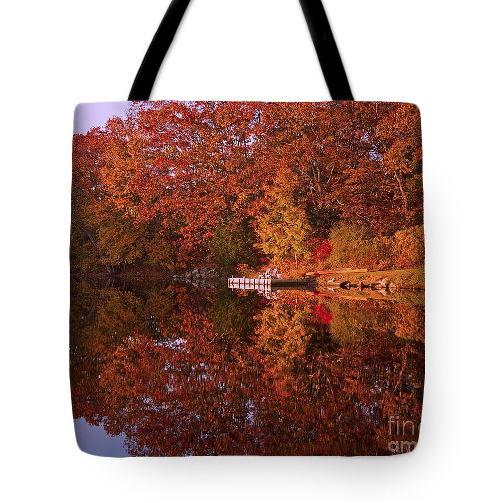 Landscape Tote Bag featuring the photograph Autumn's Reflection by Joe Geraci