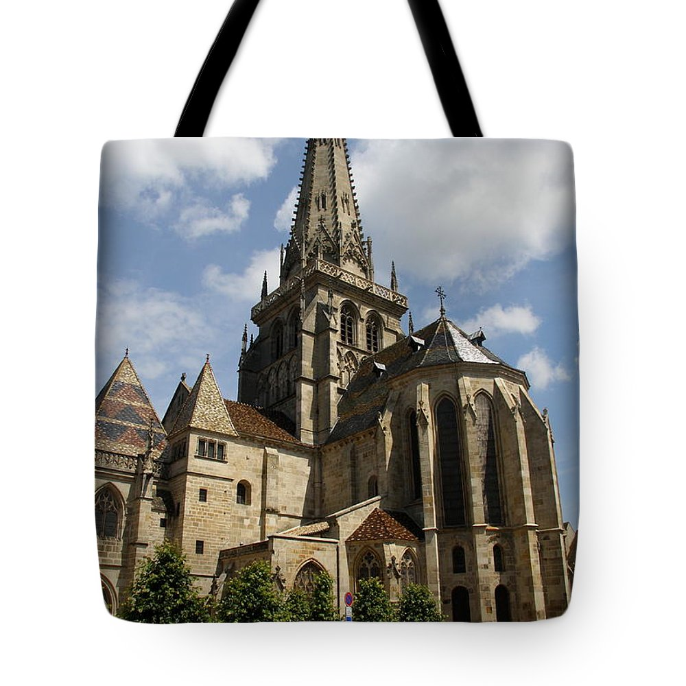 Cathedral Tote Bag featuring the photograph Autun Cathedral View Burgundy by Christiane Schulze Art And Photography