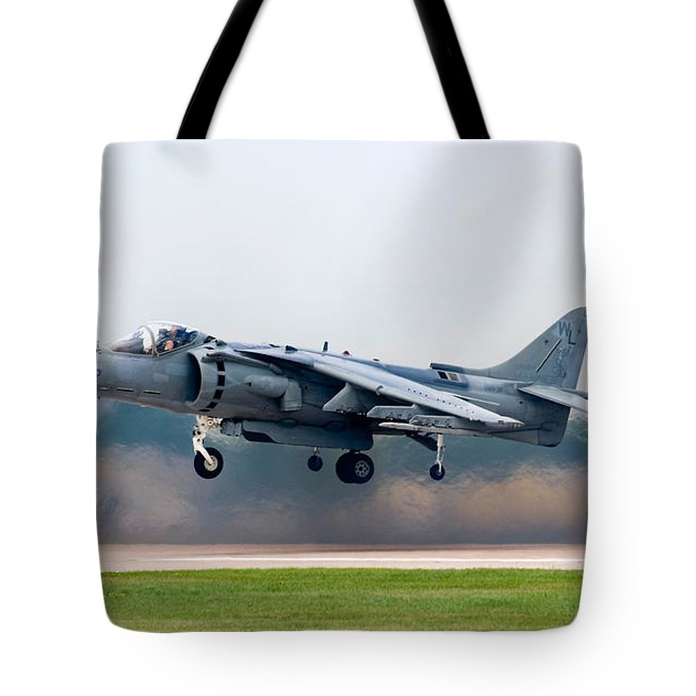 3scape Tote Bag featuring the photograph Av-8b Harrier by Adam Romanowicz