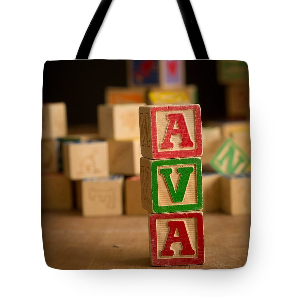 Alphabet Tote Bag featuring the photograph Ava - Alphabet Blocks by Edward Fielding