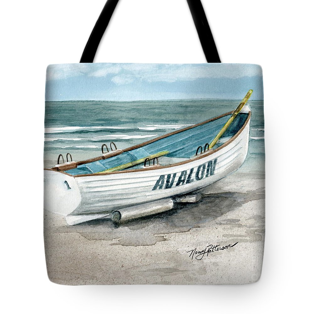 6aefceaf4691 Lifeguard Boat Tote Bag featuring the painting Avalon Lifeguard Boat by Nancy  Patterson