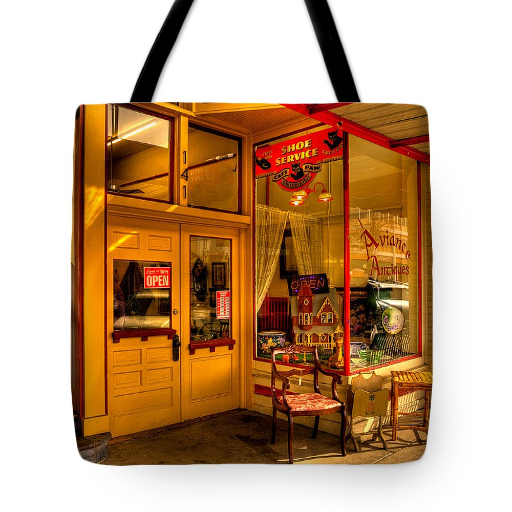 Antique Stores Tote Bag featuring the photograph Aviance Antiques Prescott Arizona by David Patterson