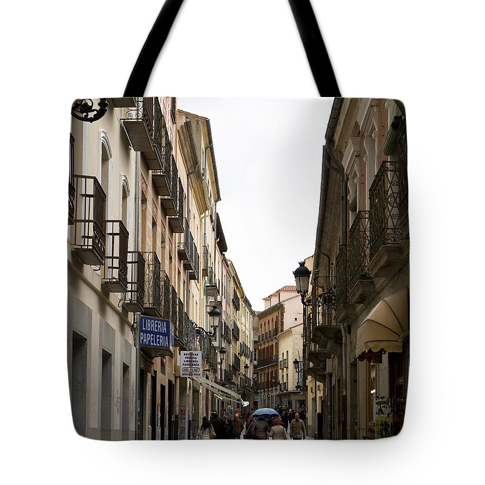 Cathedral Tote Bag featuring the photograph Avila Street Blue Umbrella by Lorraine Devon Wilke