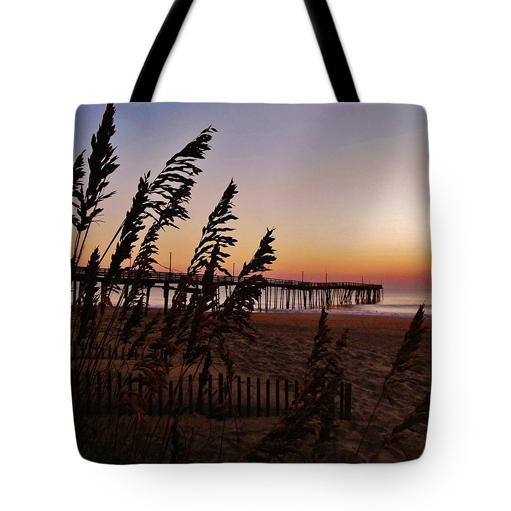 Mark Lemmon Cape Hatteras Nc The Outer Banks Photographer Subjects From Sunrise Tote Bag featuring the photograph Avon Pier 1 10/2 by Mark Lemmon
