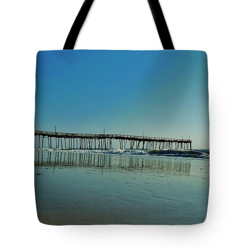 Mark Lemmon Cape Hatteras Nc The Outer Banks Photographer Subjects From Sunrise Tote Bag featuring the photograph Avon Pier Reflection 39 10/2 by Mark Lemmon