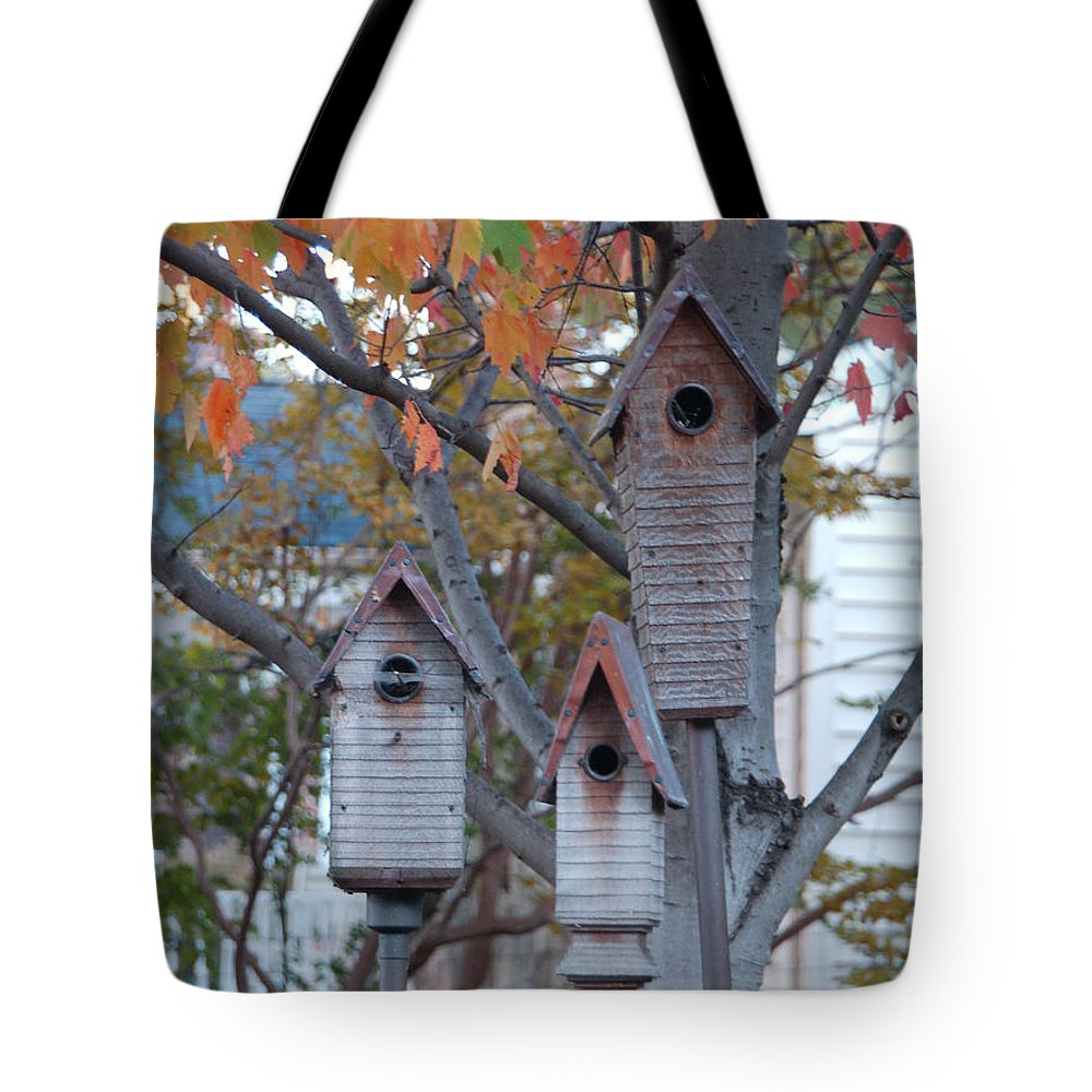 Birdhouse Tote Bag featuring the photograph Awaiting Spring by Suzanne Gaff