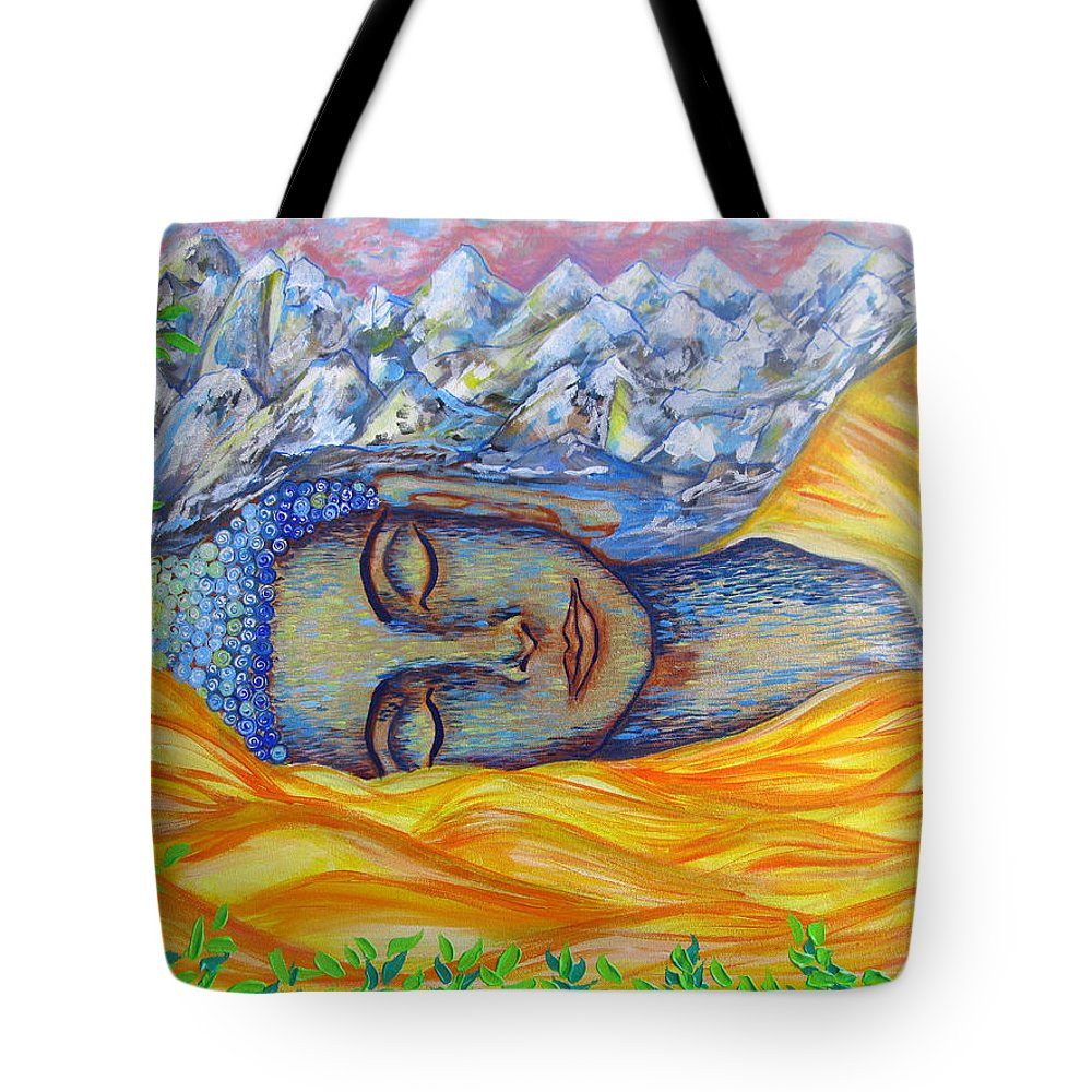 Buddha Tote Bag featuring the painting Awaken by Mataji Villareal - Sharma