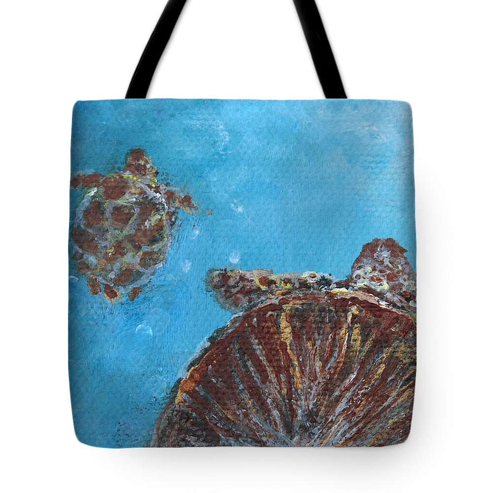 Sea Turtle Tote Bag featuring the painting Awakening To Opportunities by Ashleigh Dyan Bayer