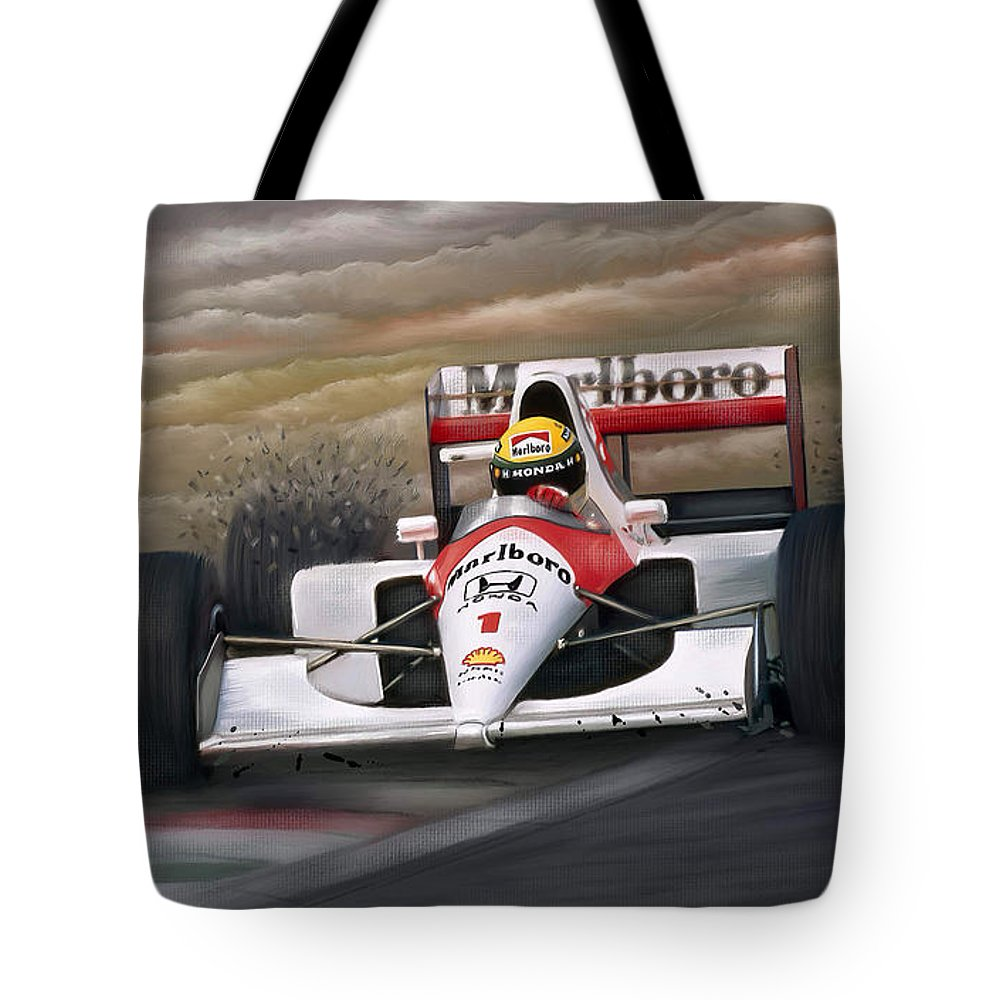Ayrton Senna Tote Bag featuring the painting Ayrton Senna by Linton Hart