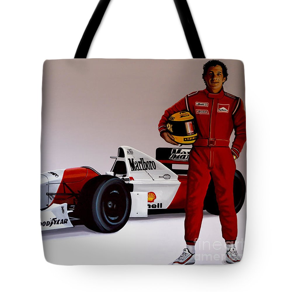 Ayrton Senna Tote Bag featuring the painting Ayrton Senna by Paul Meijering