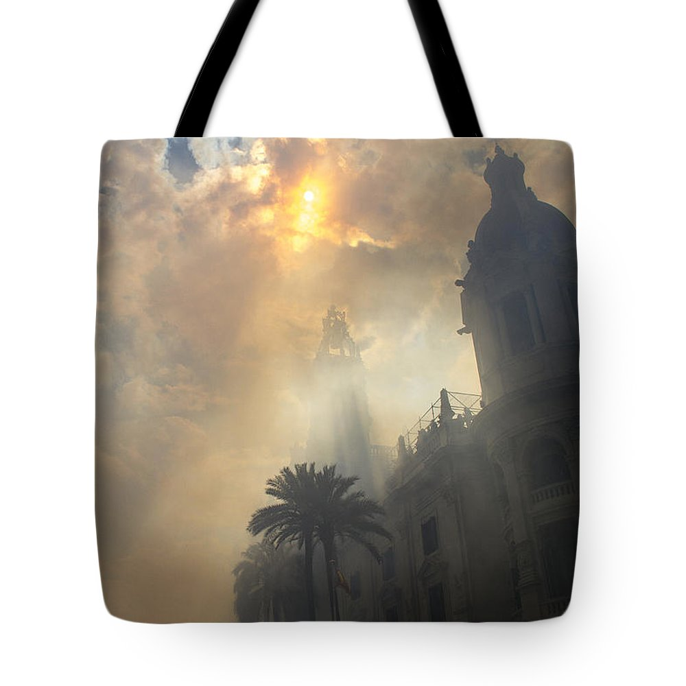 Fallas Tote Bag featuring the photograph Ayuntamiento Valencia After Mascleta by For Ninety One Days