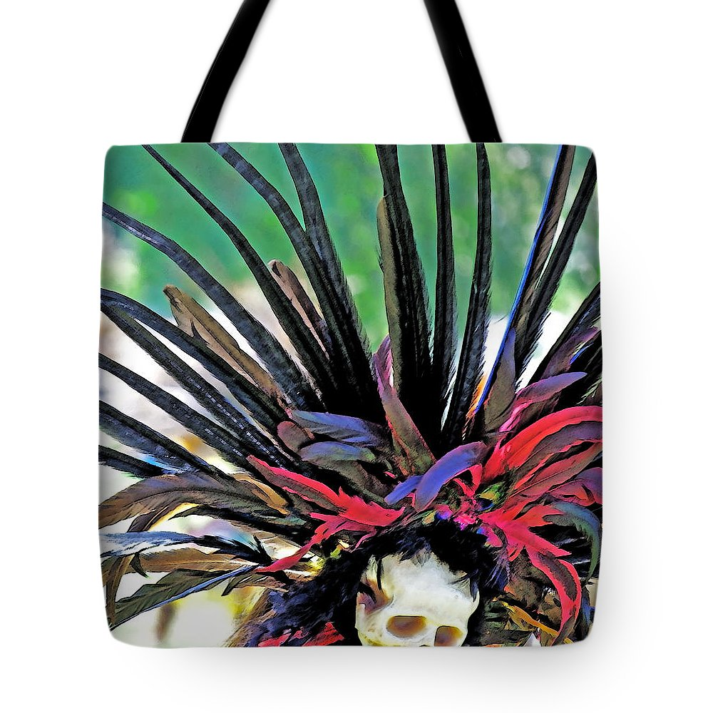 Aztecan Tote Bag featuring the photograph Aztecan Ceremony 15 by Gwyn Newcombe
