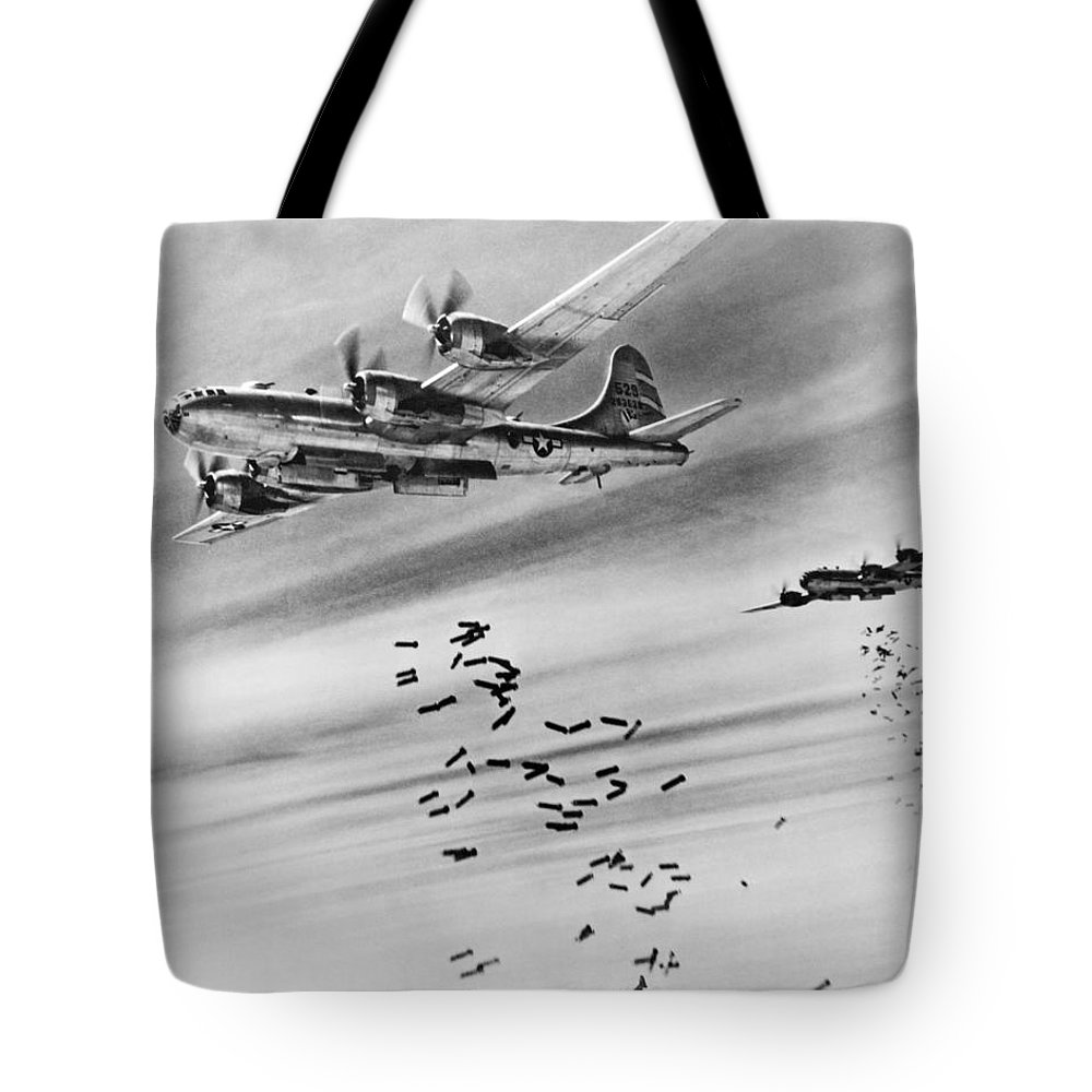 1940s Tote Bag featuring the photograph B-29s Bombing Burma by Underwood Archives