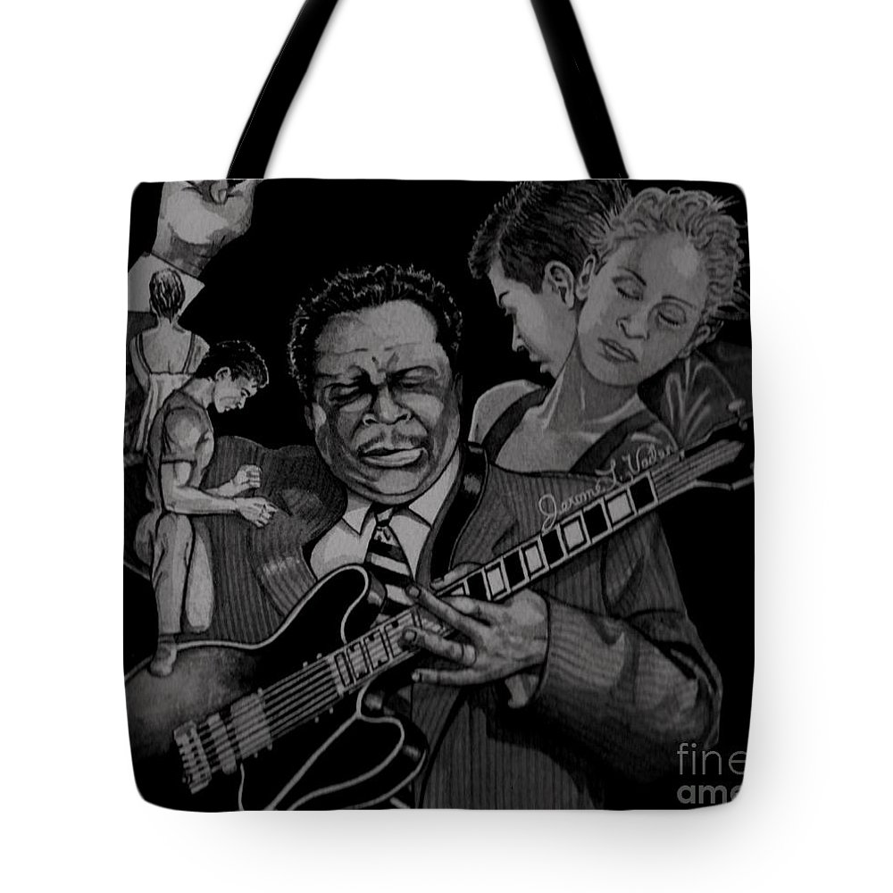 Blues Tote Bag featuring the painting B B King by JL Vaden