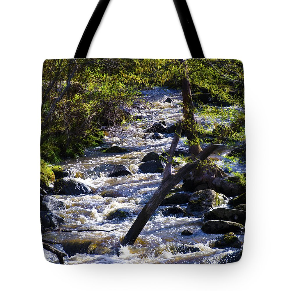 Babbling Tote Bag featuring the photograph Babbling Brook by Bill Cannon