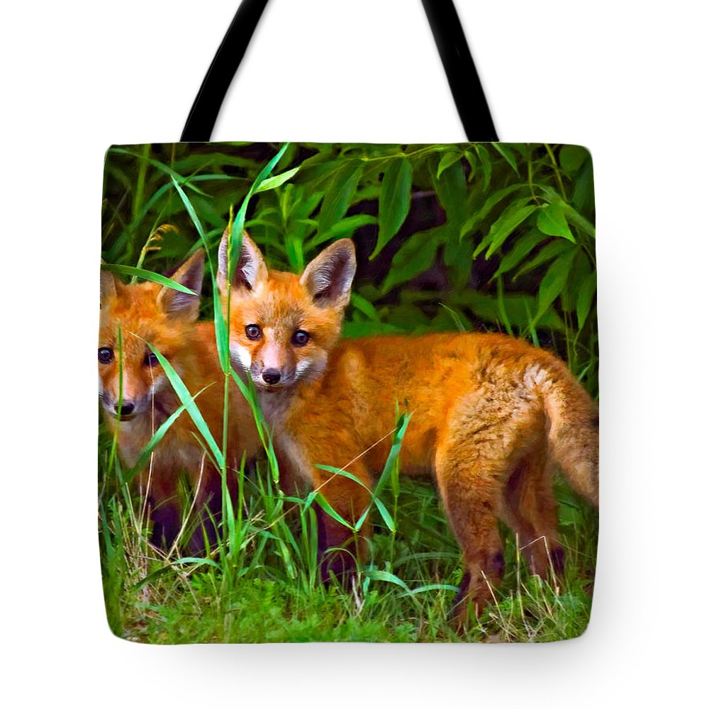 Fox Tote Bag featuring the photograph Babes In The Woods Oil by Steve Harrington