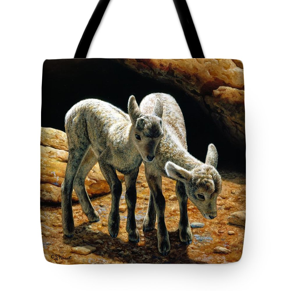 Bighorn Tote Bag featuring the painting Baby Bighorns by Crista Forest