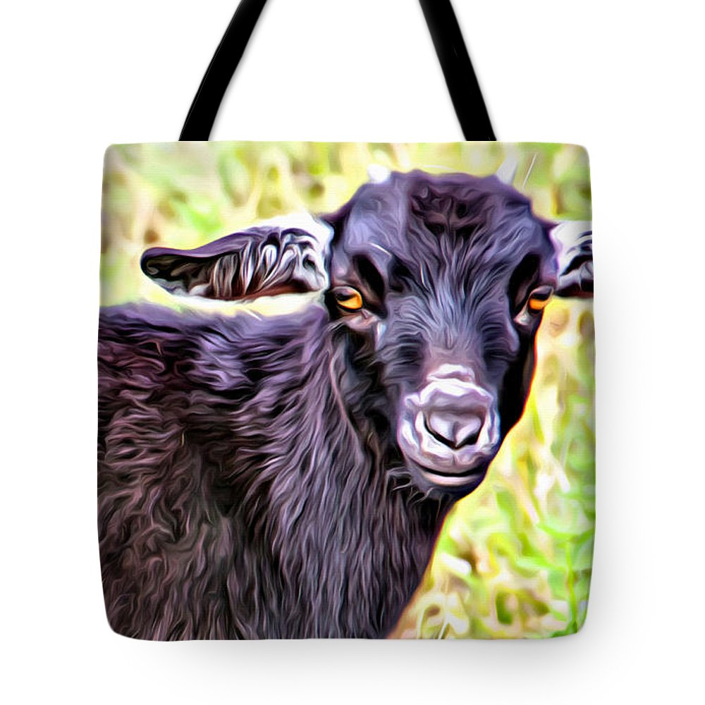 Baby Goat Tote Bag featuring the photograph Baby Billy by Alice Gipson