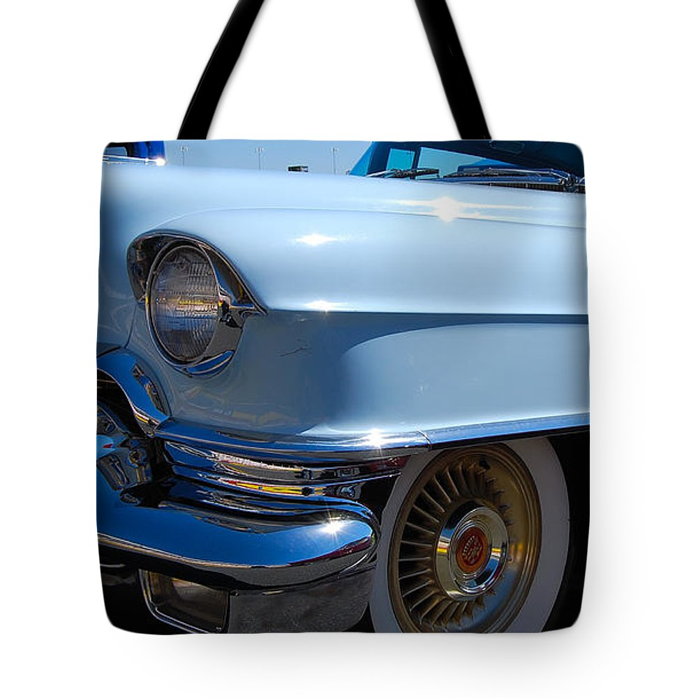 Classic American Auto Tote Bag featuring the photograph Baby Blue Caddy by Mark Spearman