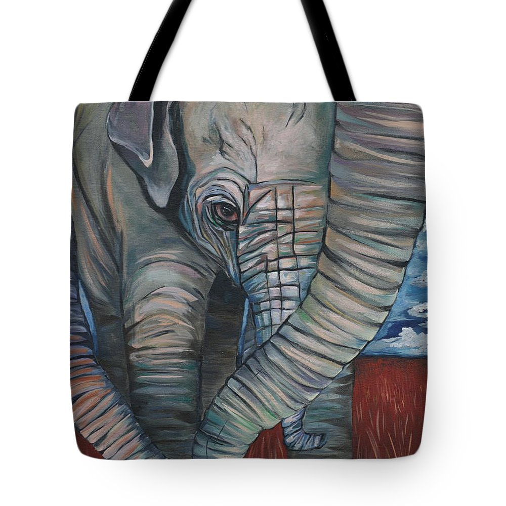 Baby Elephant Tote Bag featuring the painting Baby Comfort by Aimee Vance