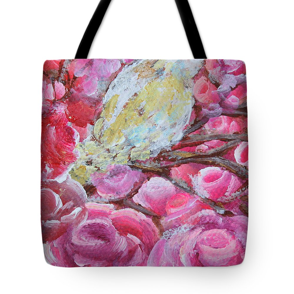 Pink Roses Tote Bag featuring the painting Baby Dove Of Peace Pink Flowers by Ashleigh Dyan Bayer