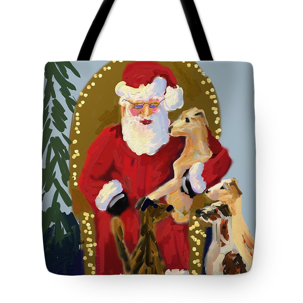 Greyhound Tote Bag featuring the painting Baby Greys by Terry Chacon