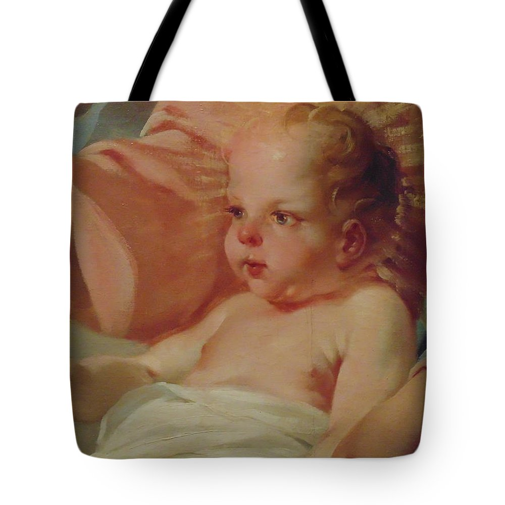 Baby Tote Bag featuring the painting Baby Jesus by Dotti Hannum